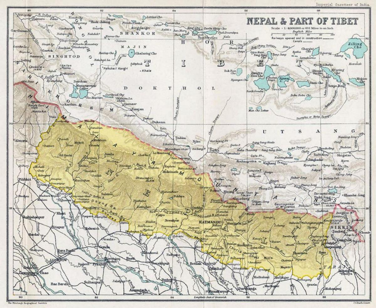 Nepal Gammal Karta Mycket Gammal Karta Over Nepal Sodra Asien
